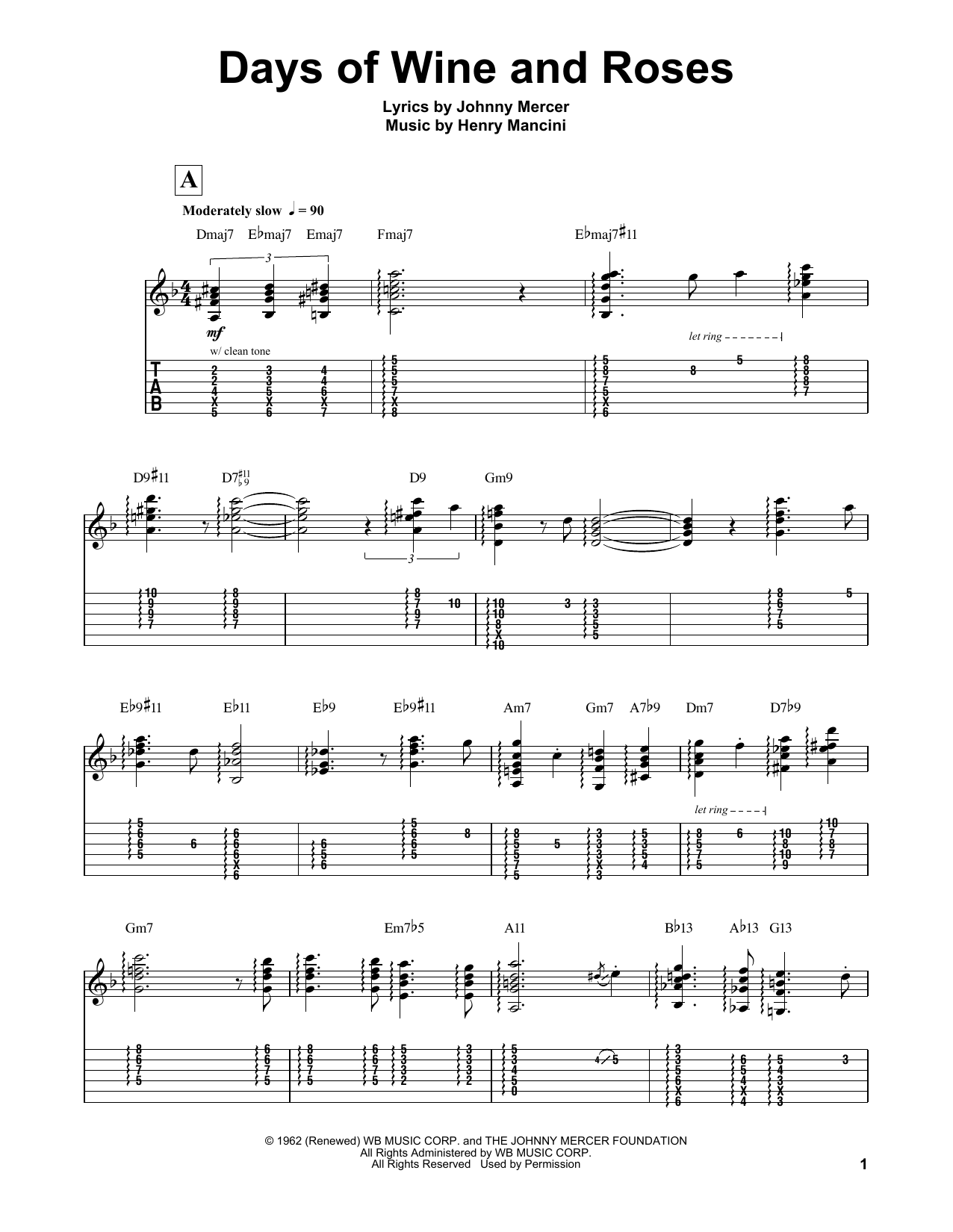 Days Of Wine And Roses Guitar Tab By Lenny Breau Guitar Tab