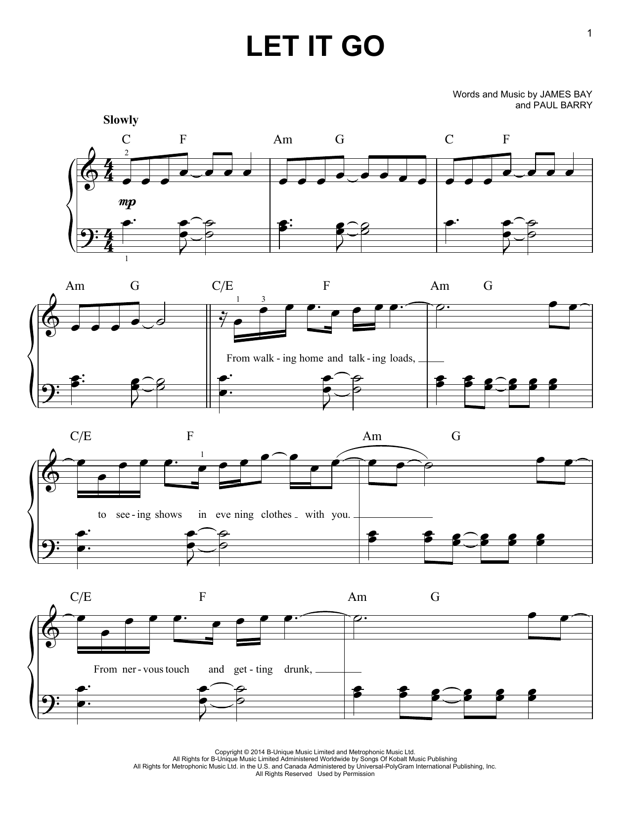 Let It Go Sheet Music By James Bay Easy Piano