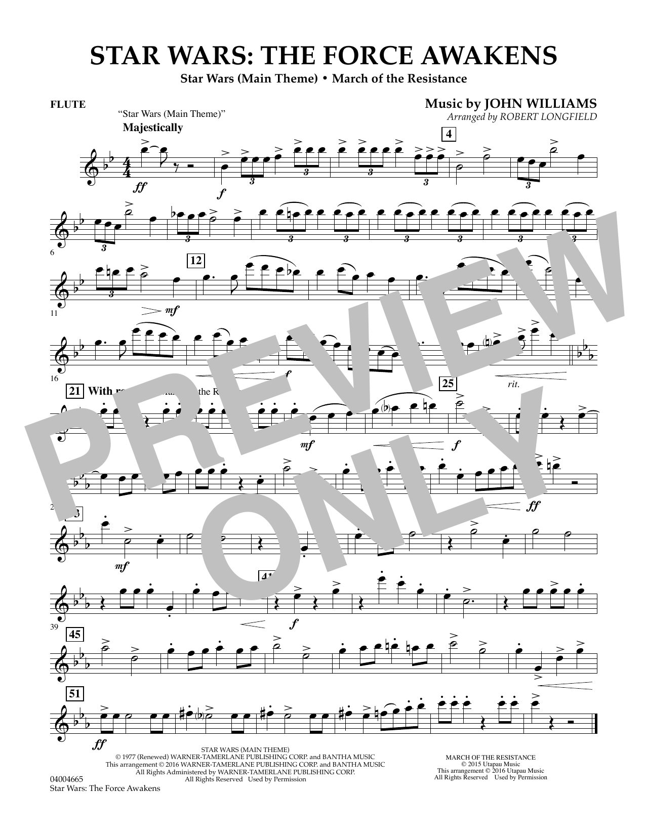 Star Wars Sheet Music Flute