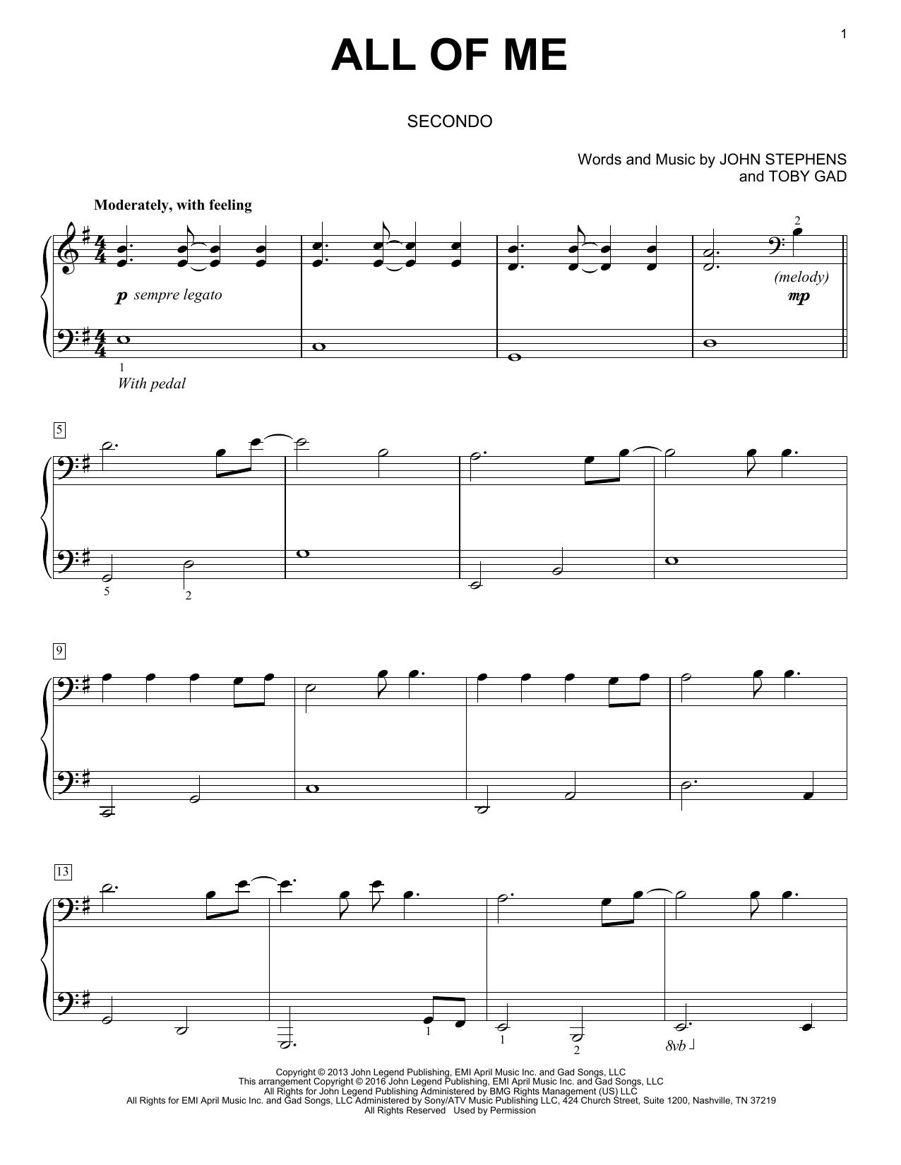 Partition Piano All Of Me De John Legend