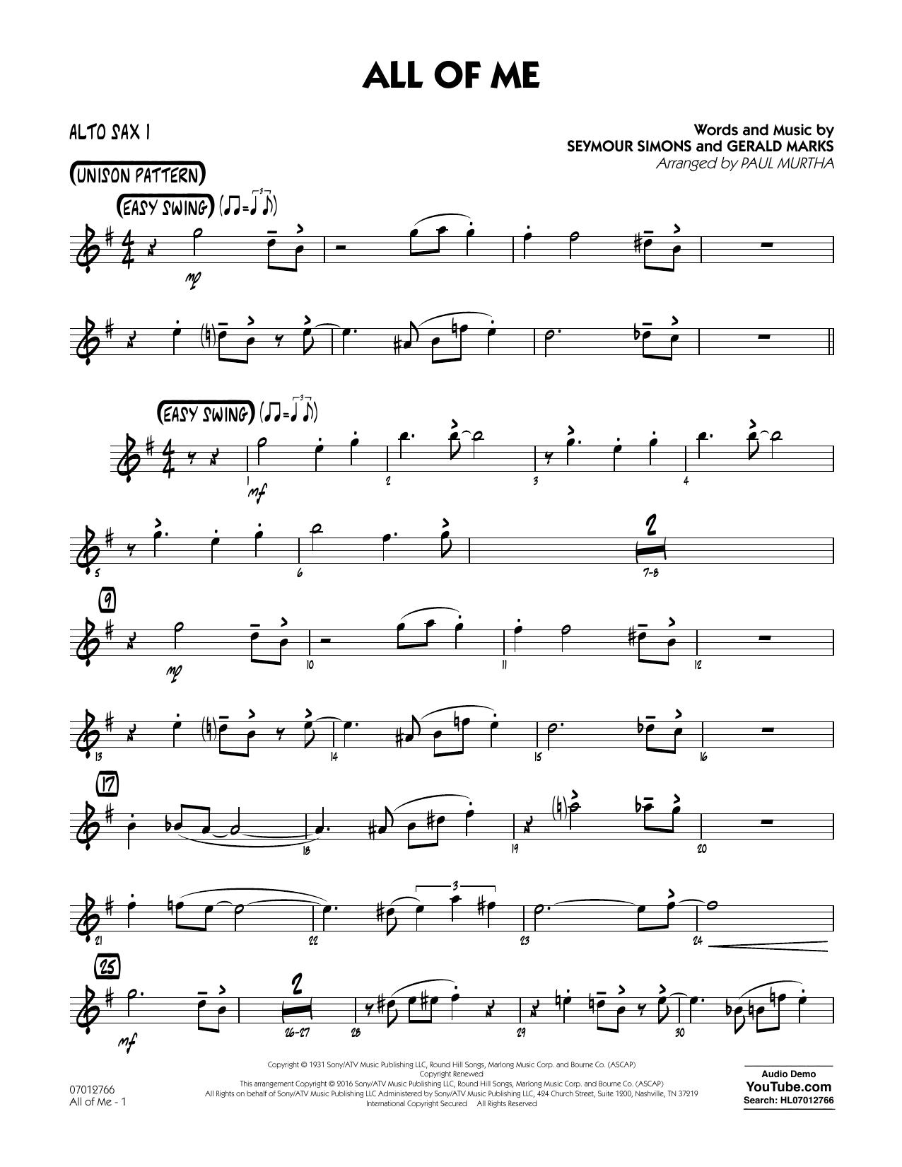 Sheet Music All Of Me Alto Sax
