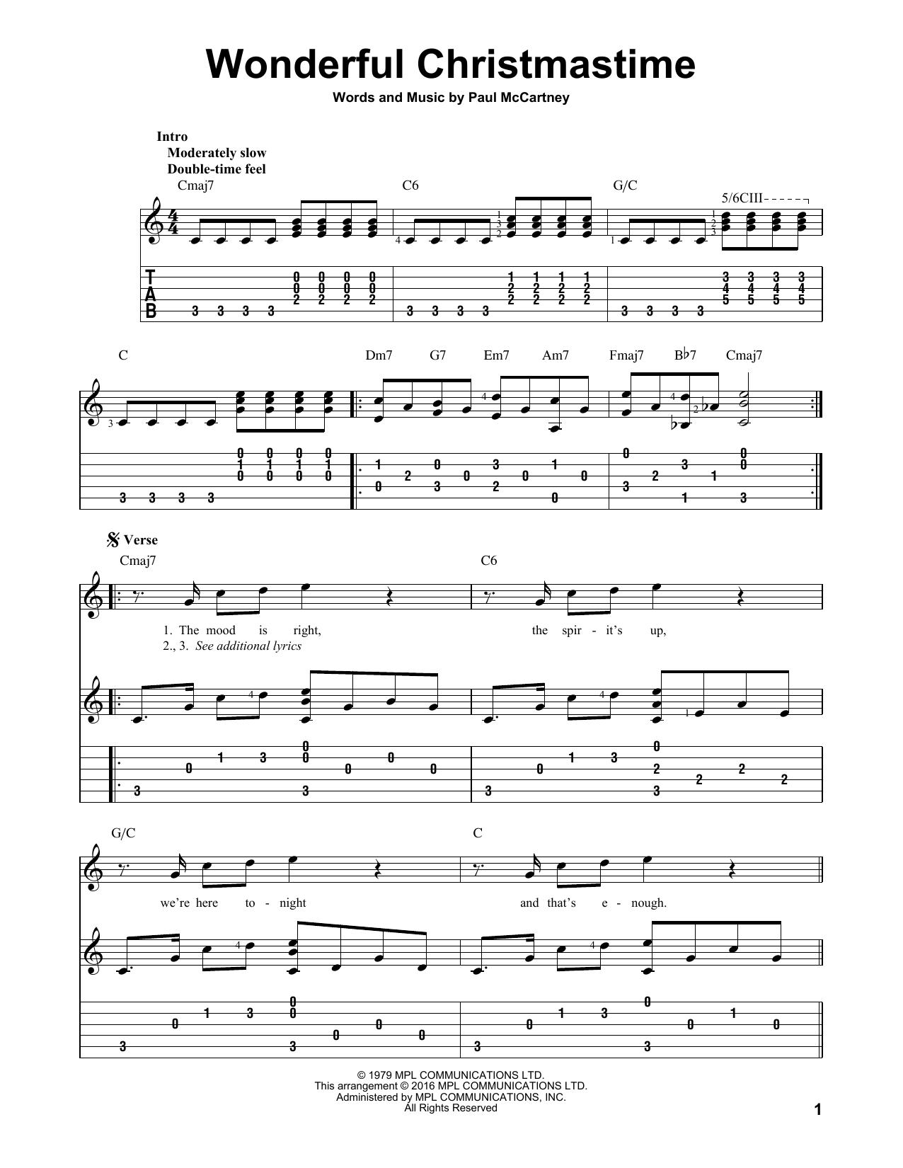 Wonderful Christmastime Sheet Music Direct