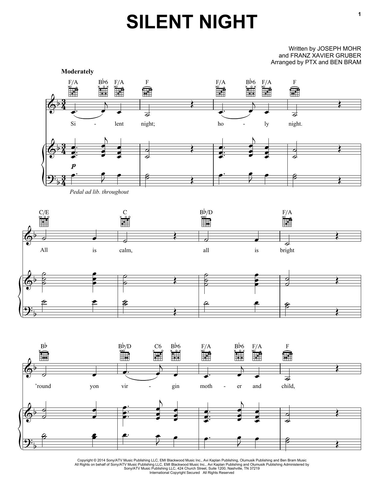 Pentatonix Silent Night Sheet Music