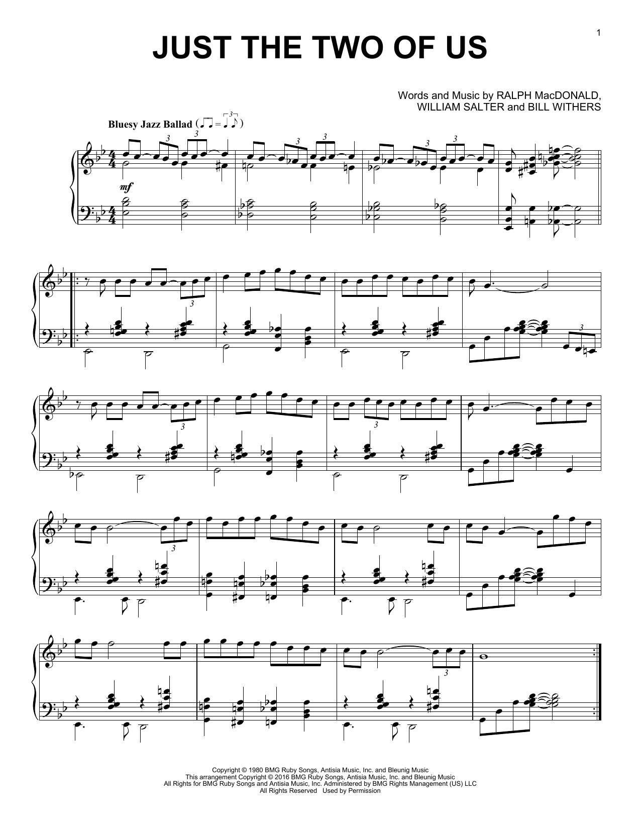 Just The Two Of Us Sheet Music By Bill Withers Piano