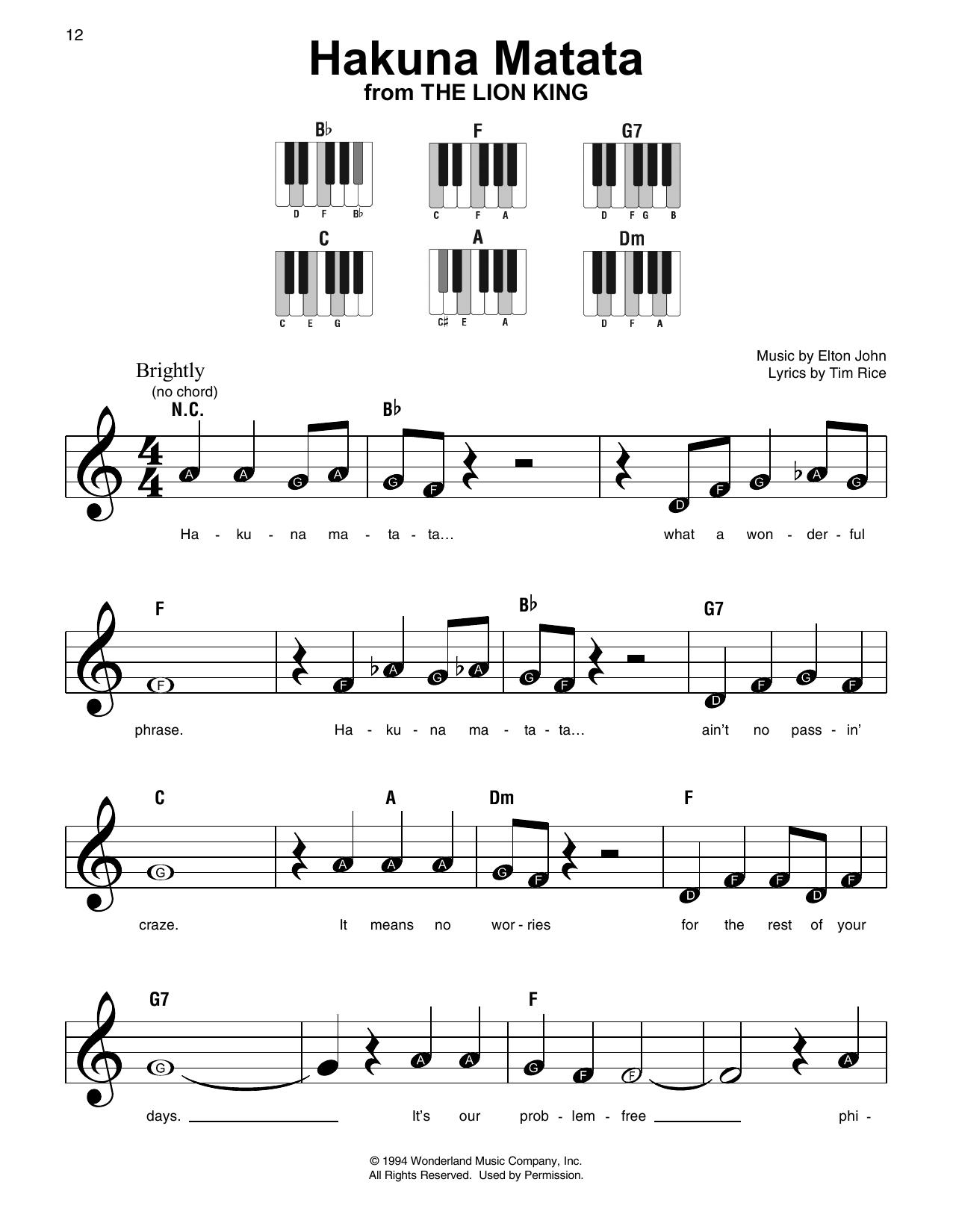 Hakuna Matata Sheet Music