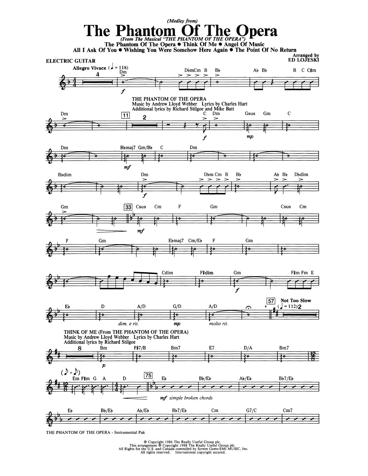 Phantom Of The Opera Medley From Instrumental Pak