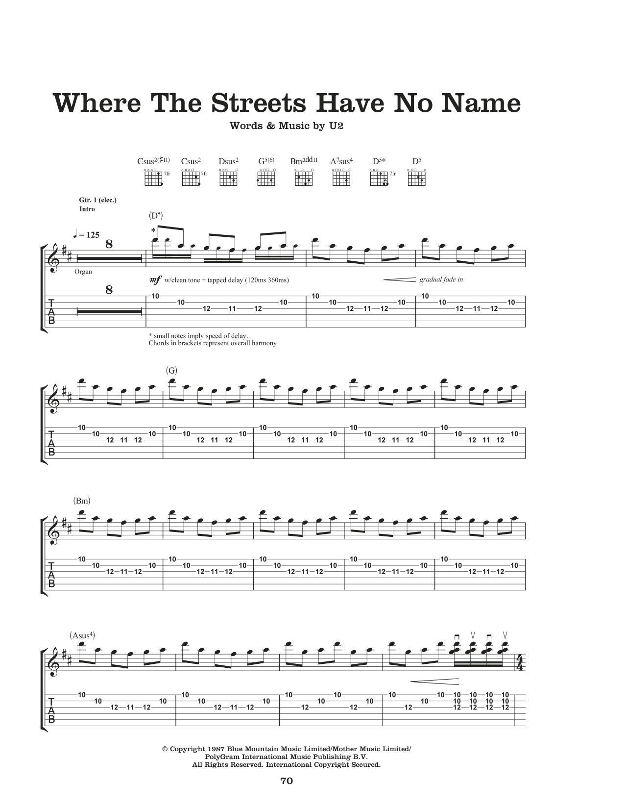 Where The Streets Have No Name Sheet Music U2 Guitar Tab