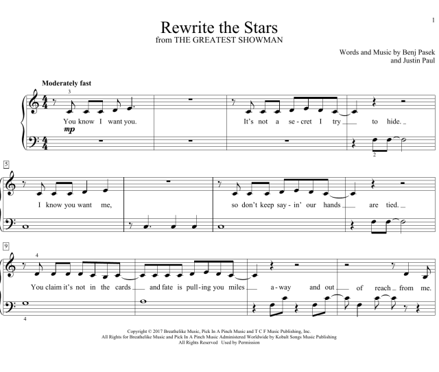 Rewrite The Stars From The Greatest Showman Sheet Music Zac