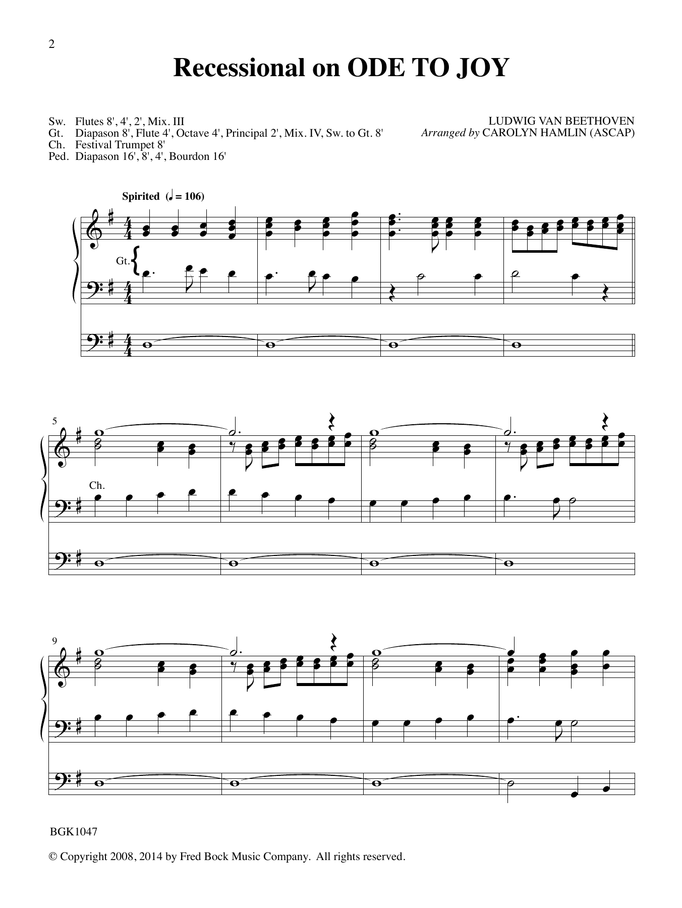 Recessional On Ode To Joy Sheet Music By Ludwig Van