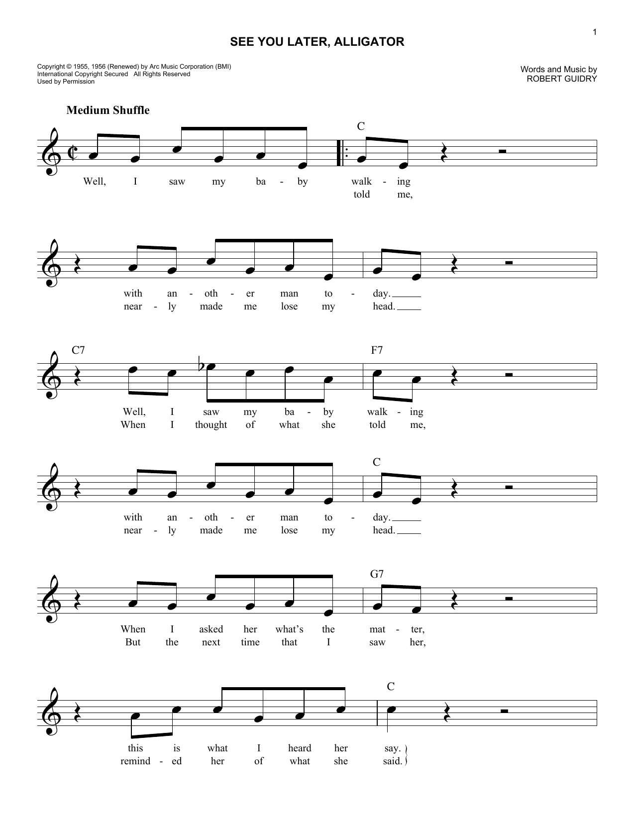 See You Later Alligator Sheet Music
