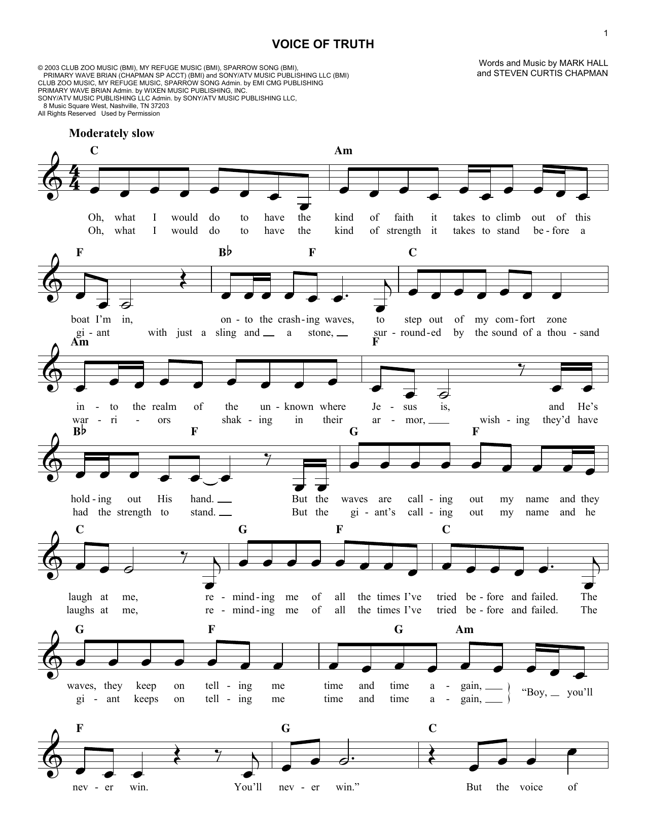 Voice Of Truth Chords By Casting Crowns Melody Line