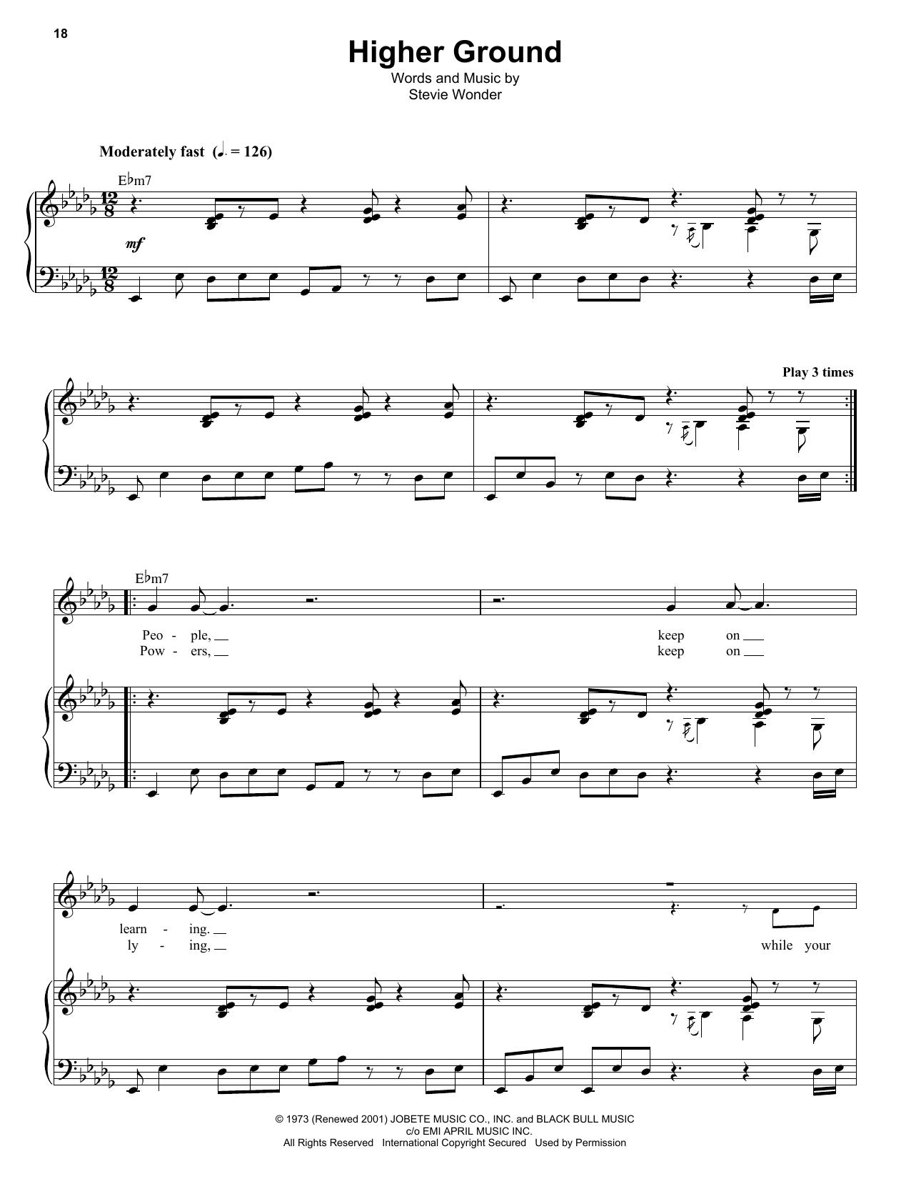 Higher Ground Sheet Music By Stevie Wonder Keyboard Transcription