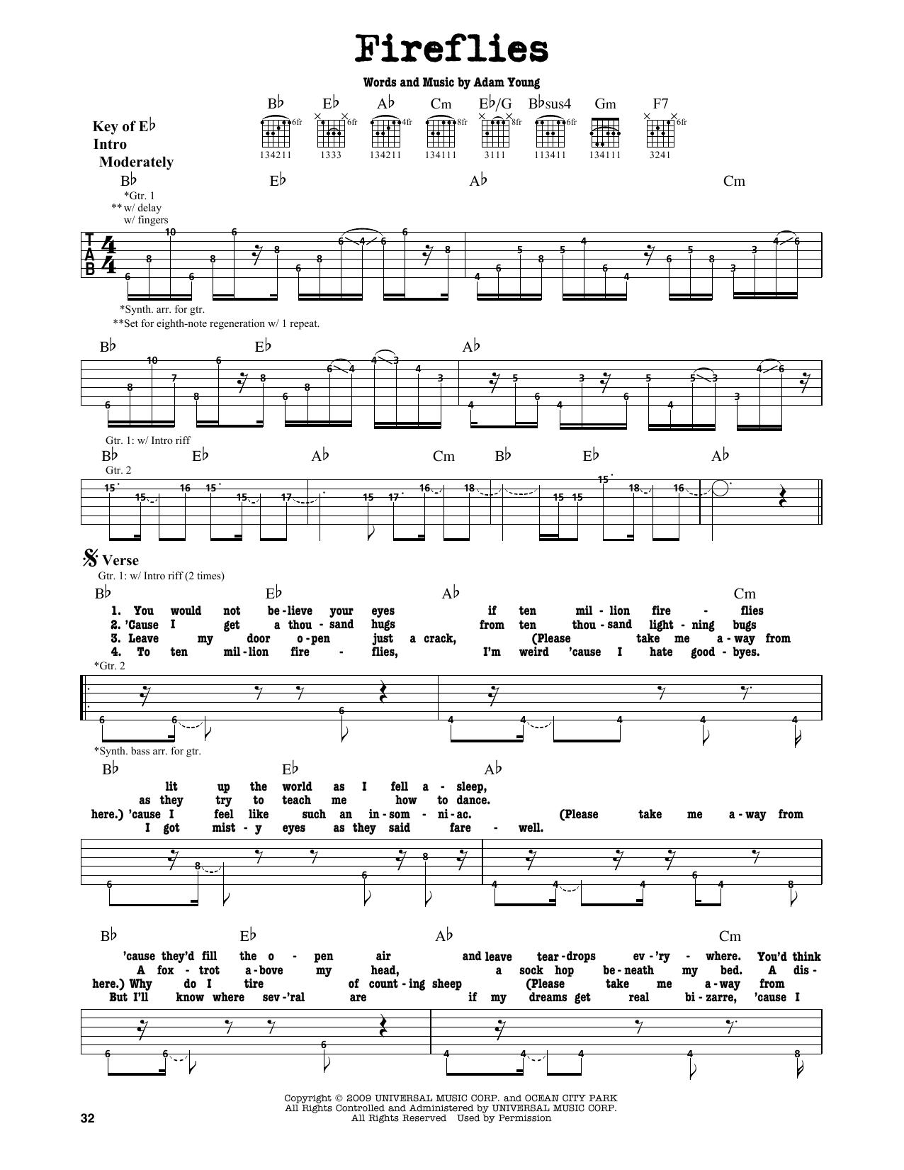 Fireflies Sheet Music By Owl City Guitar Lead Sheet