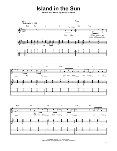 Island In The Sun by Weezer - Easy Guitar Tab - Guitar ...