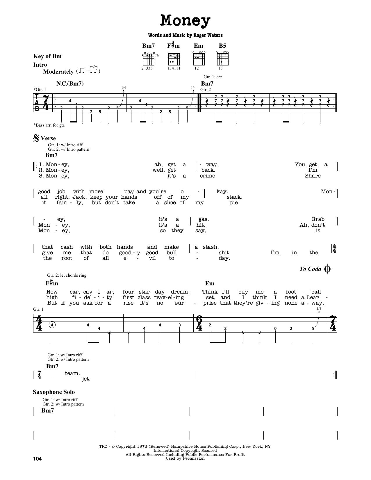 Money Sheet Music