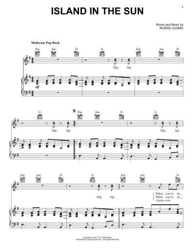 Island In The Sun sheet music by Weezer (Piano, Vocal ...