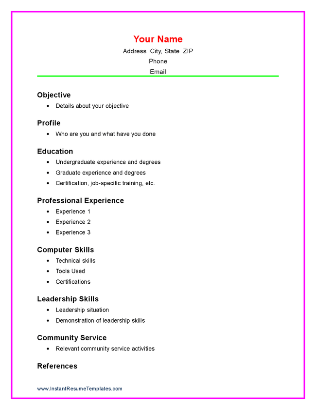 example of simple resume for student