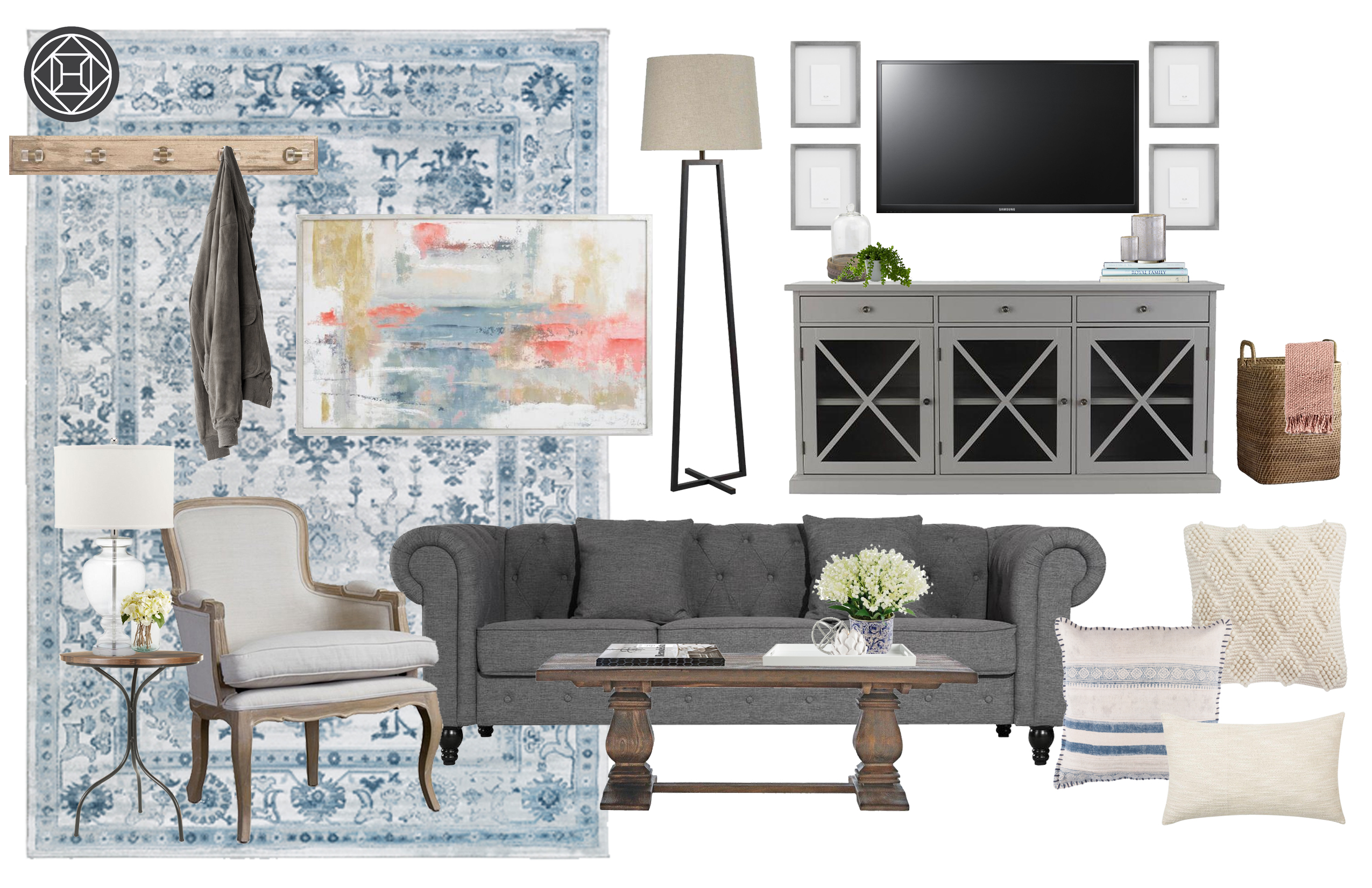 Classic Traditional Farmhouse Transitional Living Room
