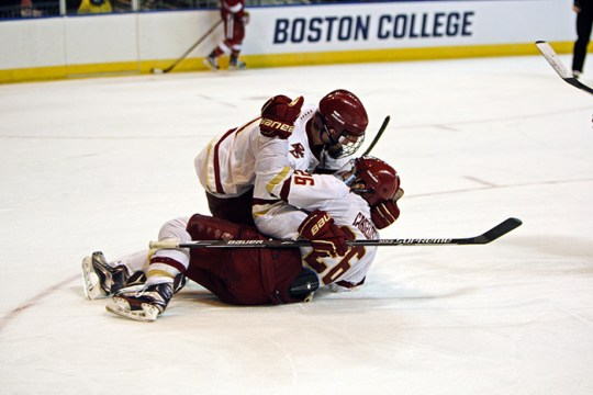 Two Goals Each by Tuch, Cangelosi Lift BC Over Harvard