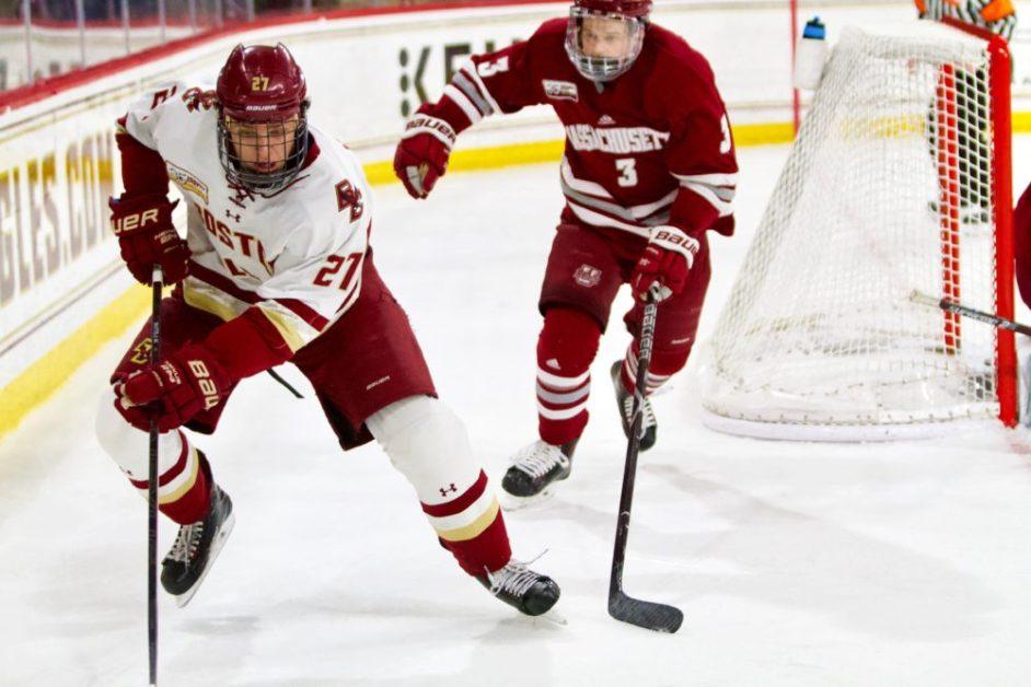 Despite McPhee's Two Goals, BC Swept by Massachusetts