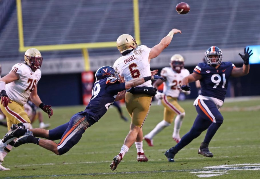 Grosel Ties Flutie's Single-Game Passing Yardage Record in Loss to UVA