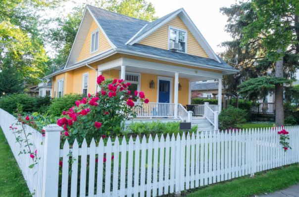 Image result for front yard white picket fence ideas pink ideas
