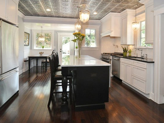 16 Decorative Ceiling Tiles for Kitchens  Kitchen Photo Gallery  white kitchen with ceiling tiles