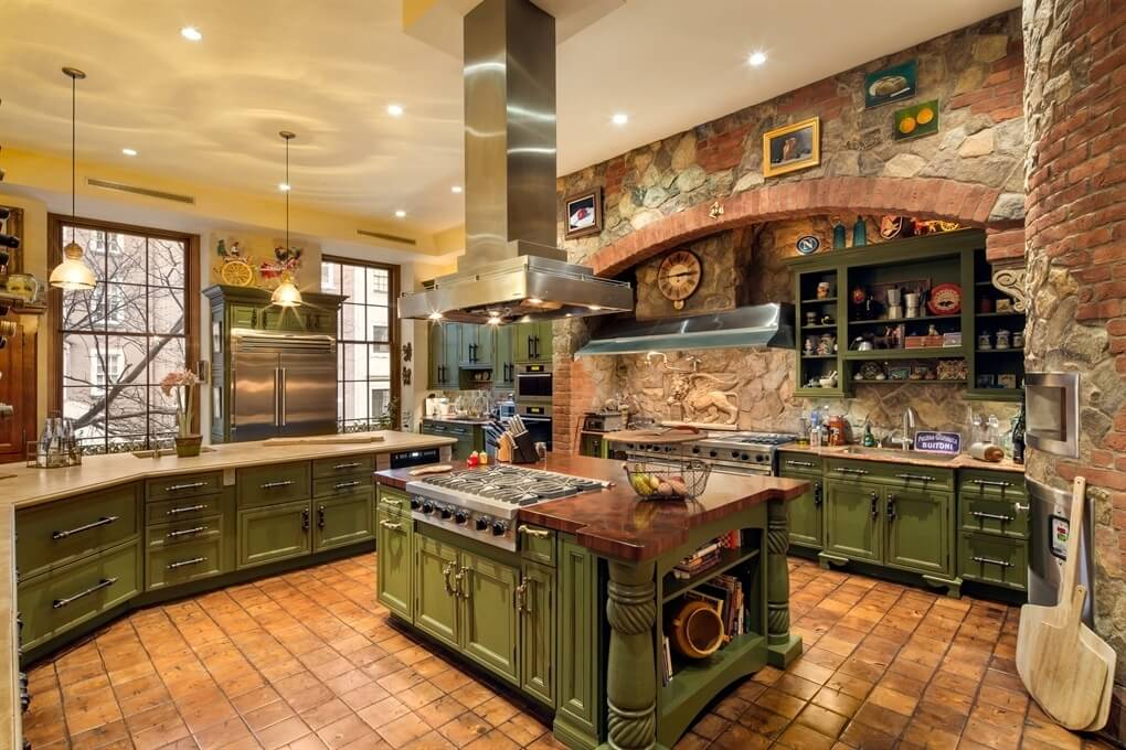 30 Custom Luxury Kitchen Designs that Cost More than  100 000 Intricate country kitchen with brick and stone work throughout  Cabinetry  is a textured green