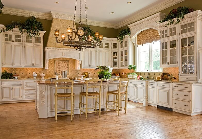 30 Custom Luxury Kitchen Designs that Cost More than  100 000 Spacious white kitchen with large central island