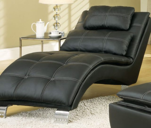 Black Leather Modern Chaise Lounge For The Living Room