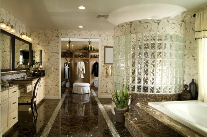 Glass Penny Tile Bathroom Floor
