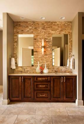 28 Gorgeous Bathrooms with Dark Cabinets  LOTS OF VARIETY  A rugged brick wall behind the counter in this bathroom provides a lot of  texture