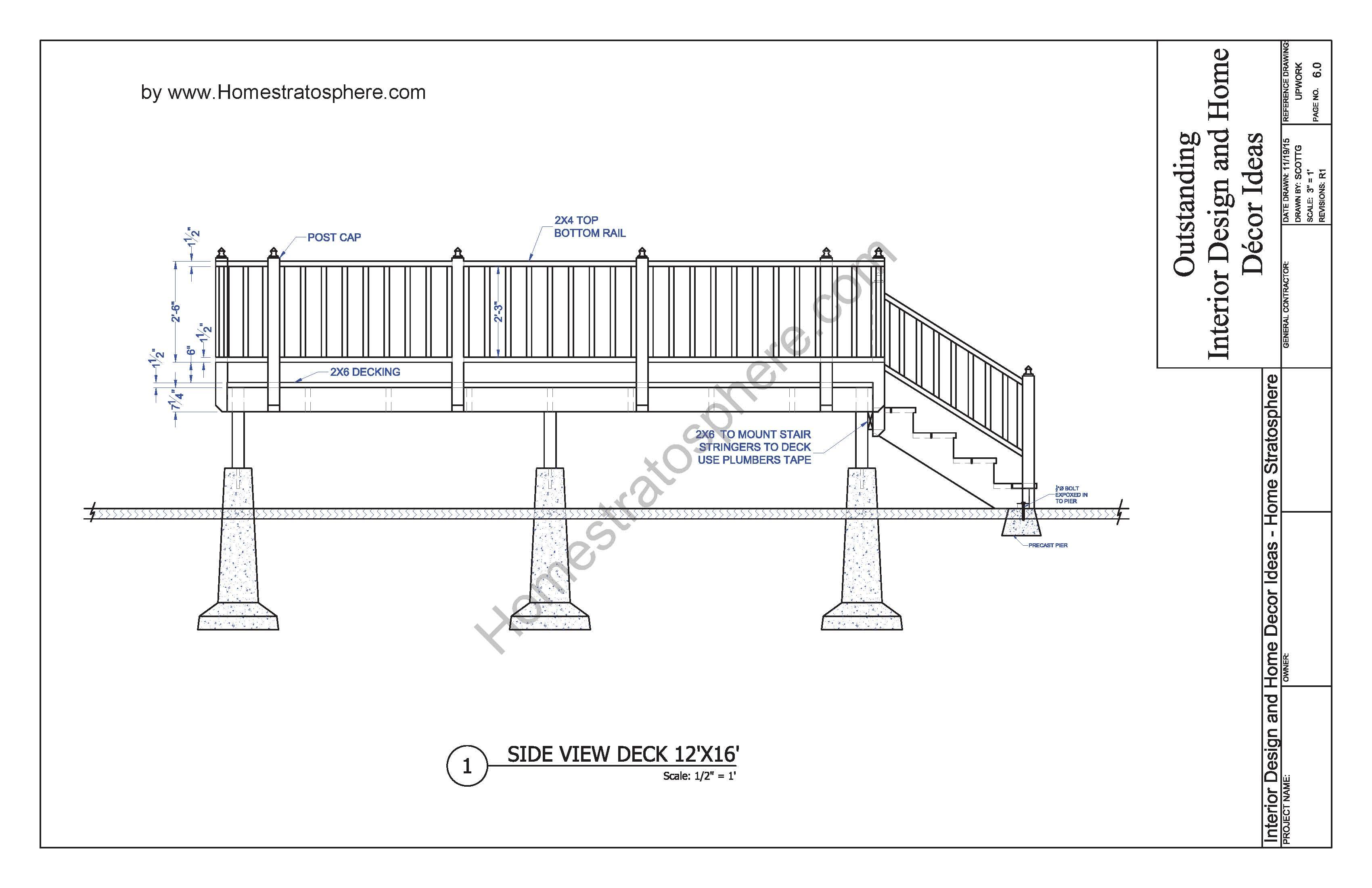 Free 12 X 16 Deck Plan Blueprint With Document