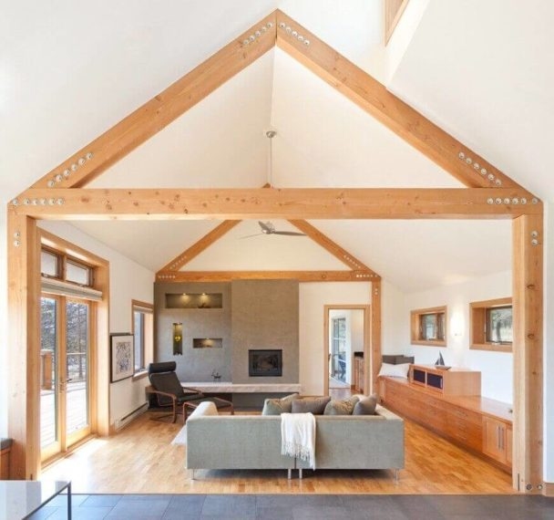 60 Fantastic Living Room Ceiling Ideas This is an example of a vaulted ceiling with some lovely natural colored exposed  beam work
