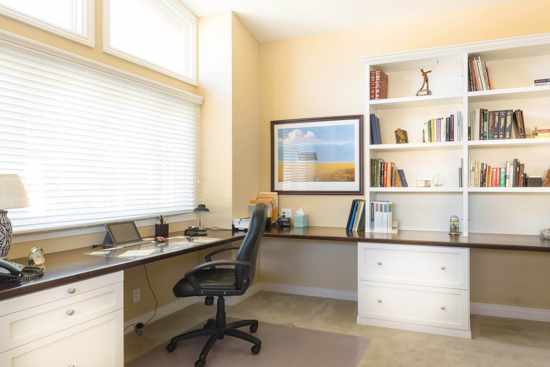 Spacious Home Office with Large L-Shaped Built-In Desk