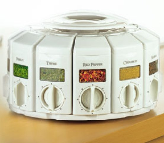 The auto-measure carousel features 12 canisters on a convenient rotating base that can be placed on a counter or mounted under a cabinet.