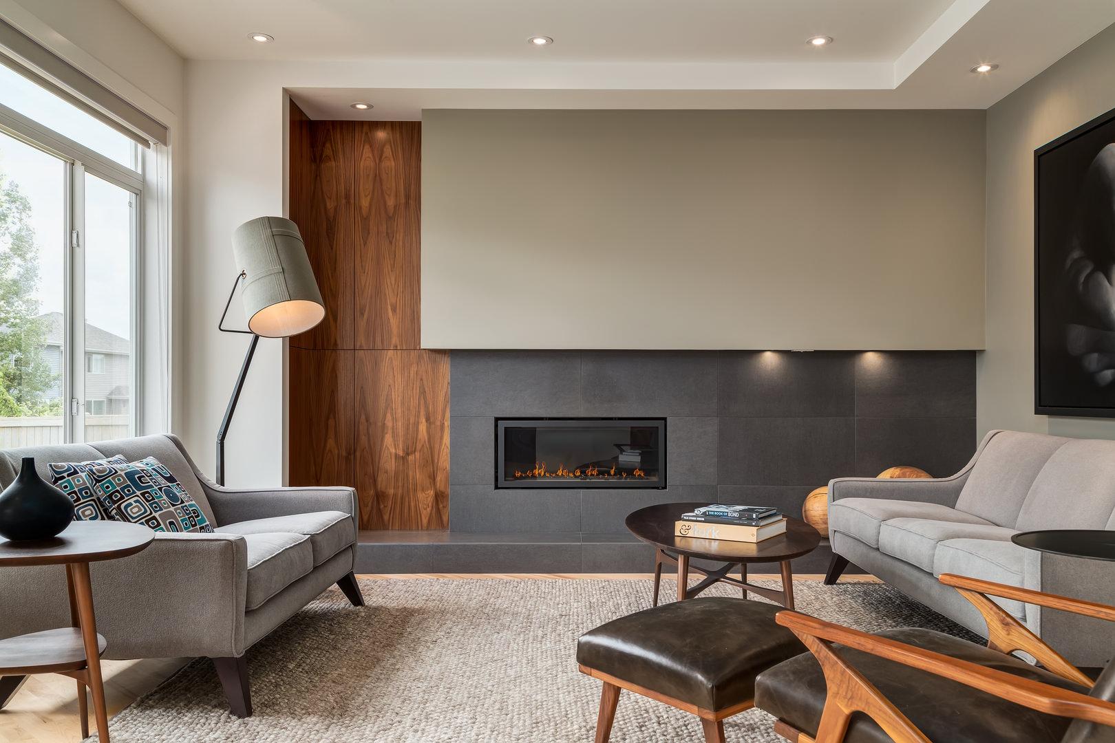 Contemporary Interior Design With Extensive Walnut Millwork