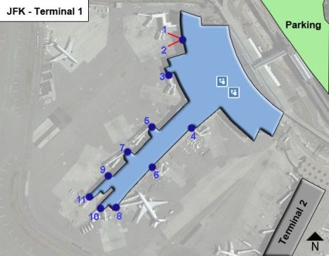 New York Kennedy Airport JFK Terminal 1 Map
