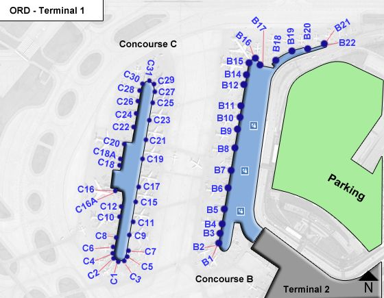 Chicago Ohare Airport Ord Terminal 1 Map