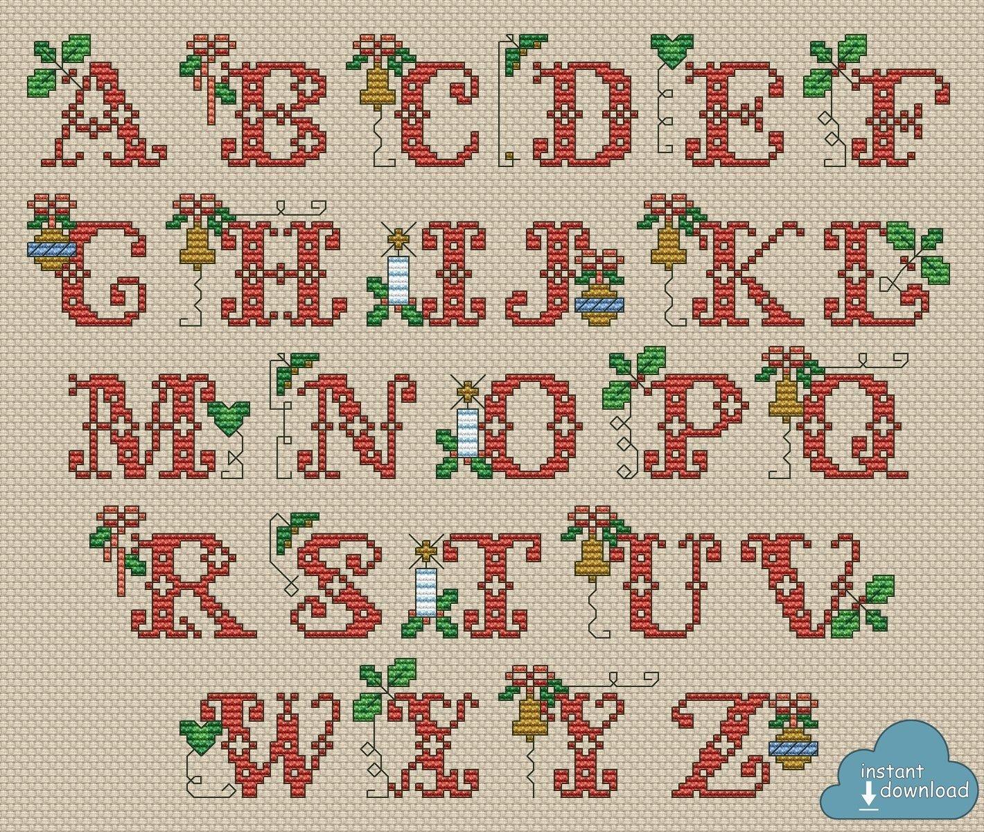 Traditional Christmas Abc Cross Stitch Chart Xsd