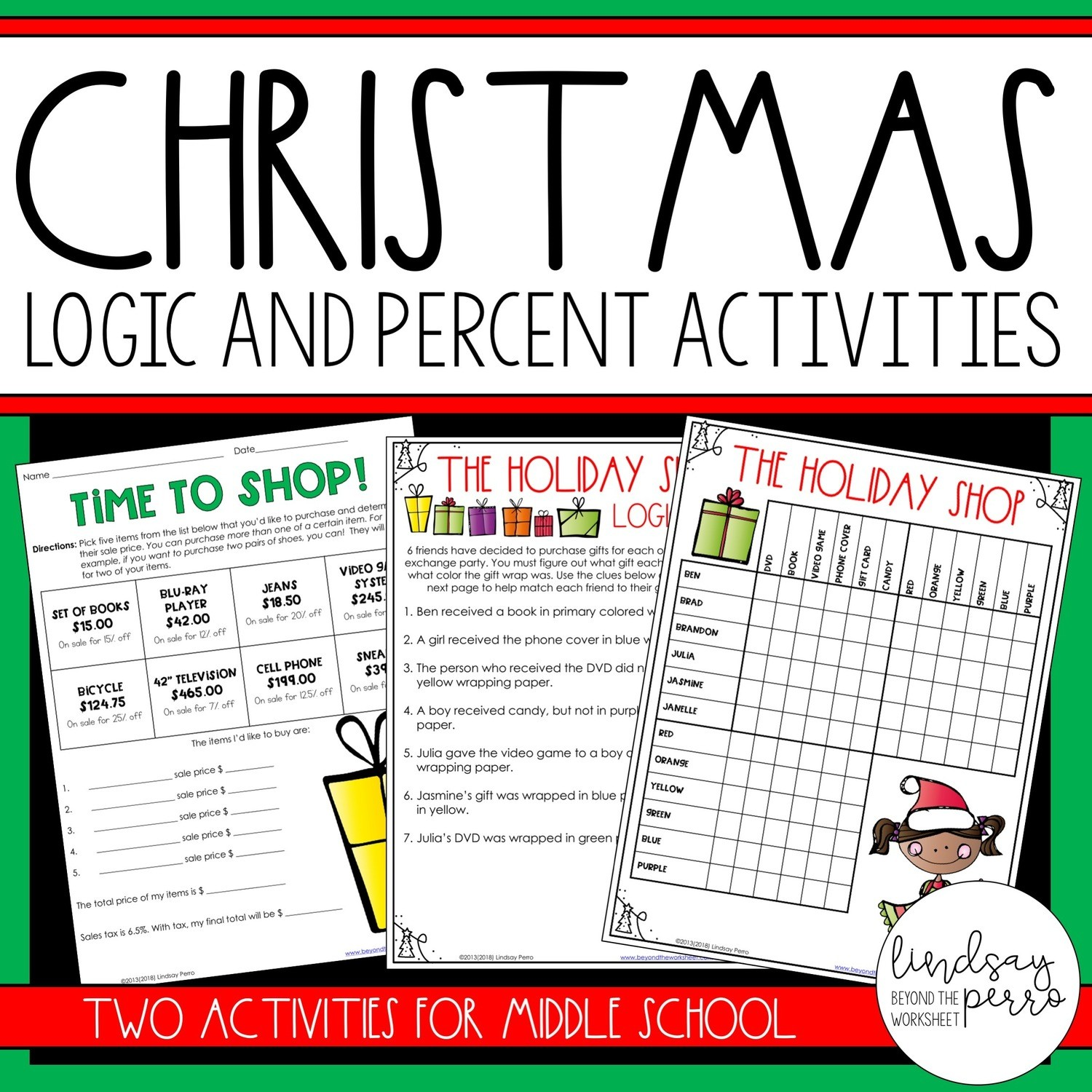 Christmas Logic And Percent Activities Store