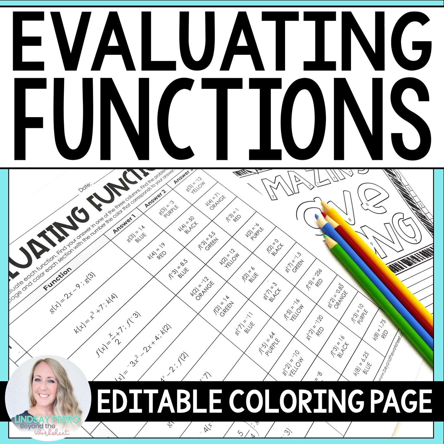 Evaluating Functions Editable Coloring Page