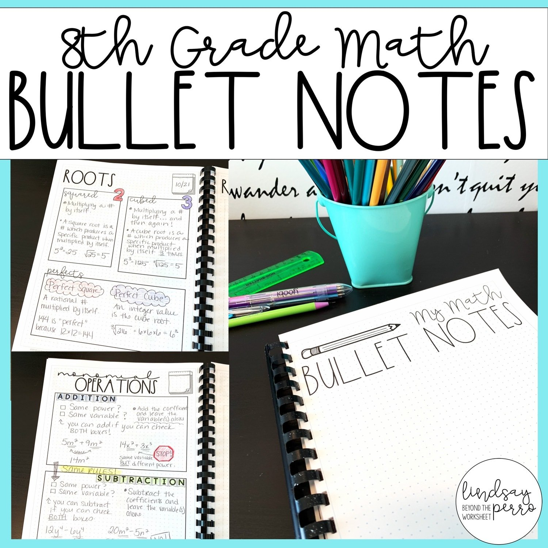 8th Grade Math Bullet Notes Store
