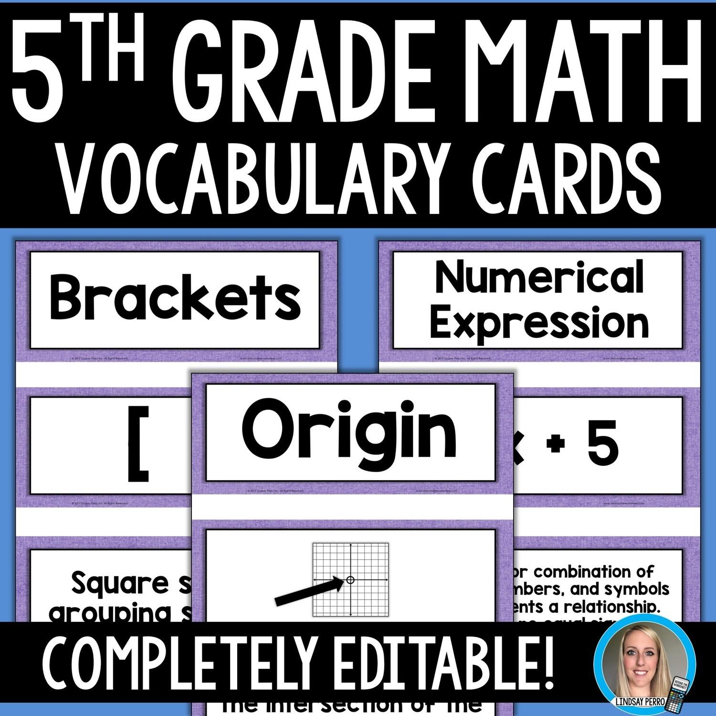 5th Grade Math Vocabulary Cards Store