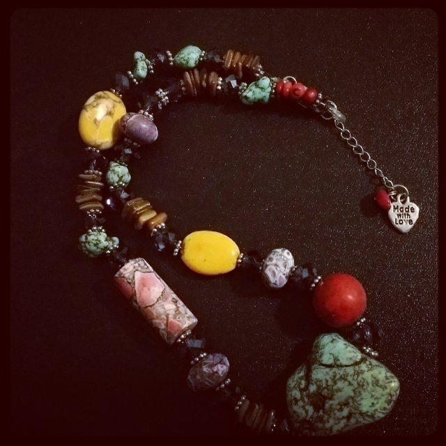 Multi Gemstone Necklace with Extender by Tesoros