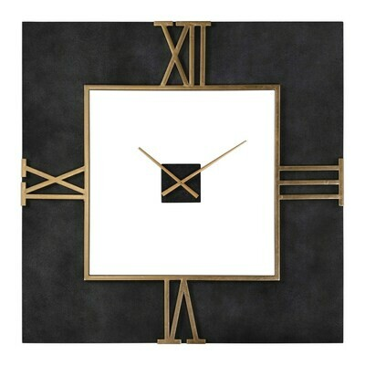 Black Wall Clock with Gold Roman Numerals