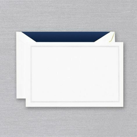 Navy Blue Triple Hairline White Card Set