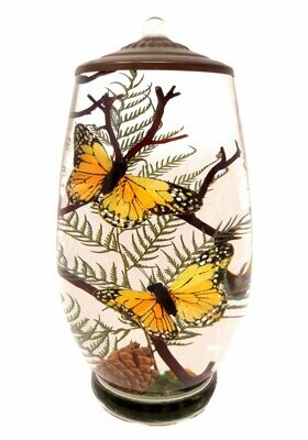 Orange Monarch Butterfly Brandy Vase Lifetime Candle