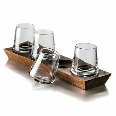 Ludlow Whiskey Glass Set With Wood Base