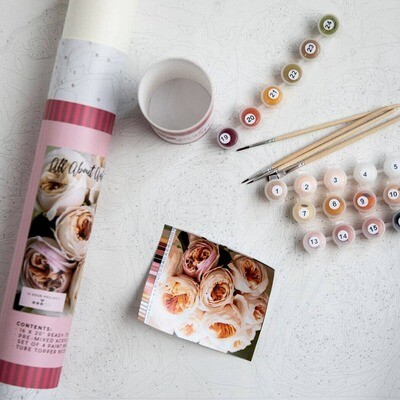 All About Austin Roses Adult Paint-By-Number Kit